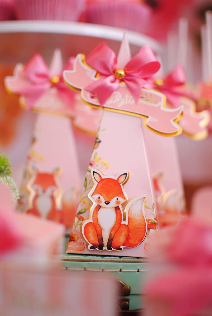 Woodland Fox Favor Cone from a Pastel Woodland Baby Shower on Kara's Party Ideas | KarasPartyIdeas.com (16)