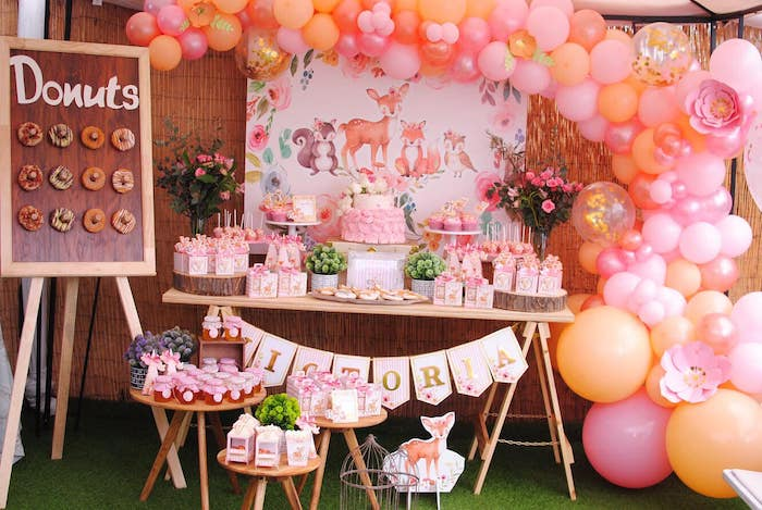 Woodland Dessert Table from a Pastel Woodland Baby Shower on Kara's Party Ideas | KarasPartyIdeas.com (33)