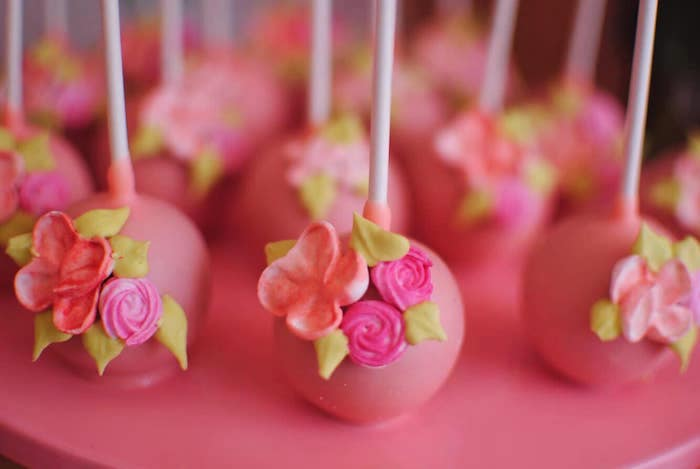 Floral Cake Pops from a Pastel Woodland Baby Shower on Kara's Party Ideas | KarasPartyIdeas.com (14)