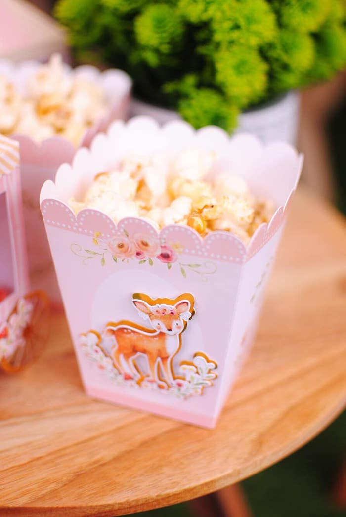 Woodland Fox Popcorn Box from a Pastel Woodland Baby Shower on Kara's Party Ideas | KarasPartyIdeas.com (12)