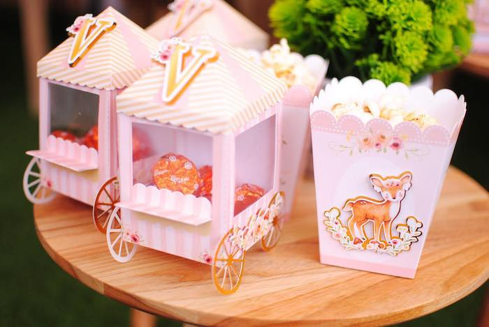 Window Cart Favor Boxes from a Pastel Woodland Baby Shower on Kara's Party Ideas | KarasPartyIdeas.com (11)