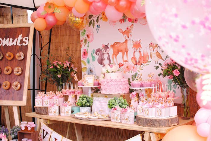 Dessert Table from a Pastel Woodland Baby Shower on Kara's Party Ideas | KarasPartyIdeas.com (9)