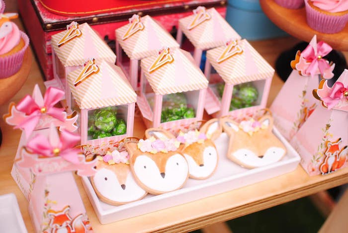Woodland Fox Cookies from a Pastel Woodland Baby Shower on Kara's Party Ideas | KarasPartyIdeas.com (8)