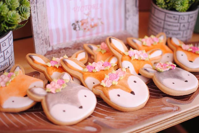 Woodland Animal Cookies from a Pastel Woodland Baby Shower on Kara's Party Ideas | KarasPartyIdeas.com (7)