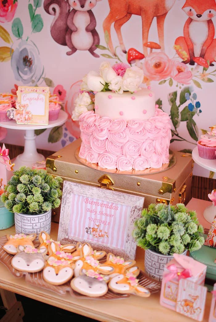 Cake Table from a Pastel Woodland Baby Shower on Kara's Party Ideas | KarasPartyIdeas.com (6)