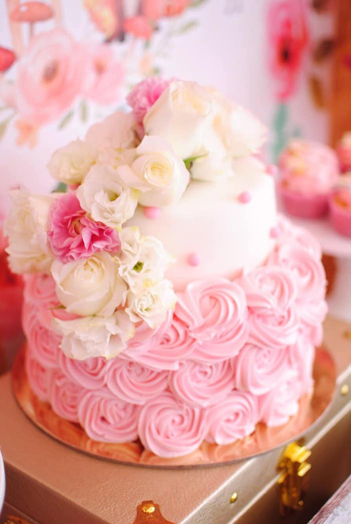 Floral Rosette Cake from a Pastel Woodland Baby Shower on Kara's Party Ideas | KarasPartyIdeas.com (32)