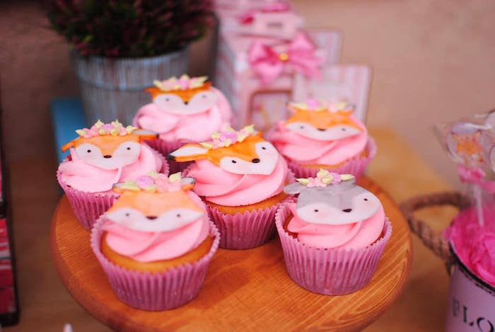 Woodland Animal Cupcakes from a Pastel Woodland Baby Shower on Kara's Party Ideas | KarasPartyIdeas.com (30)