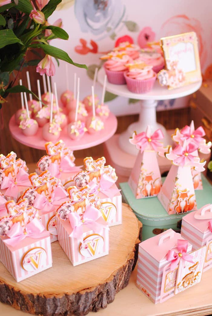 Pink Woodland Dessert Table/Sweets + Favors from a Pastel Woodland Baby Shower on Kara's Party Ideas | KarasPartyIdeas.com (26)