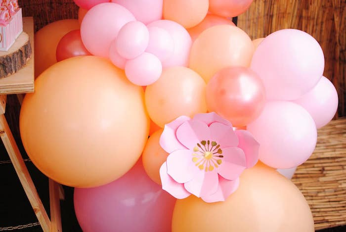 Pink + Orange Floral Balloon Garland from a Pastel Woodland Baby Shower on Kara's Party Ideas | KarasPartyIdeas.com (25)