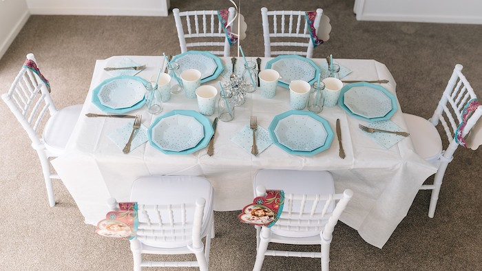 Frozen Themed Guest Table from a Stylish Frozen Birthday Party on Kara's Party Ideas | KarasPartyIdeas.com (22)