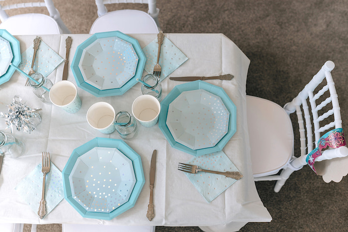 Blue-plated Table Settings from a Stylish Frozen Birthday Party on Kara's Party Ideas | KarasPartyIdeas.com (21)