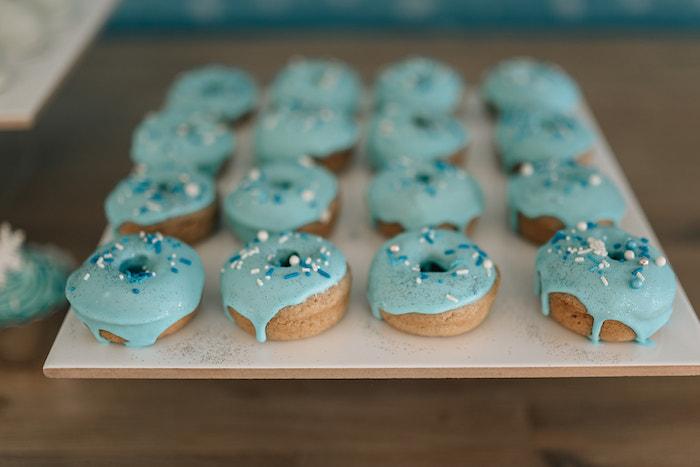 Blue-iced Doughnuts from a Stylish Frozen Birthday Party on Kara's Party Ideas   KarasPartyIdeas.com (19)
