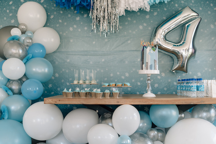 Frozen Themed Dessert Table from a Stylish Frozen Birthday Party on Kara's Party Ideas | KarasPartyIdeas.com (17)
