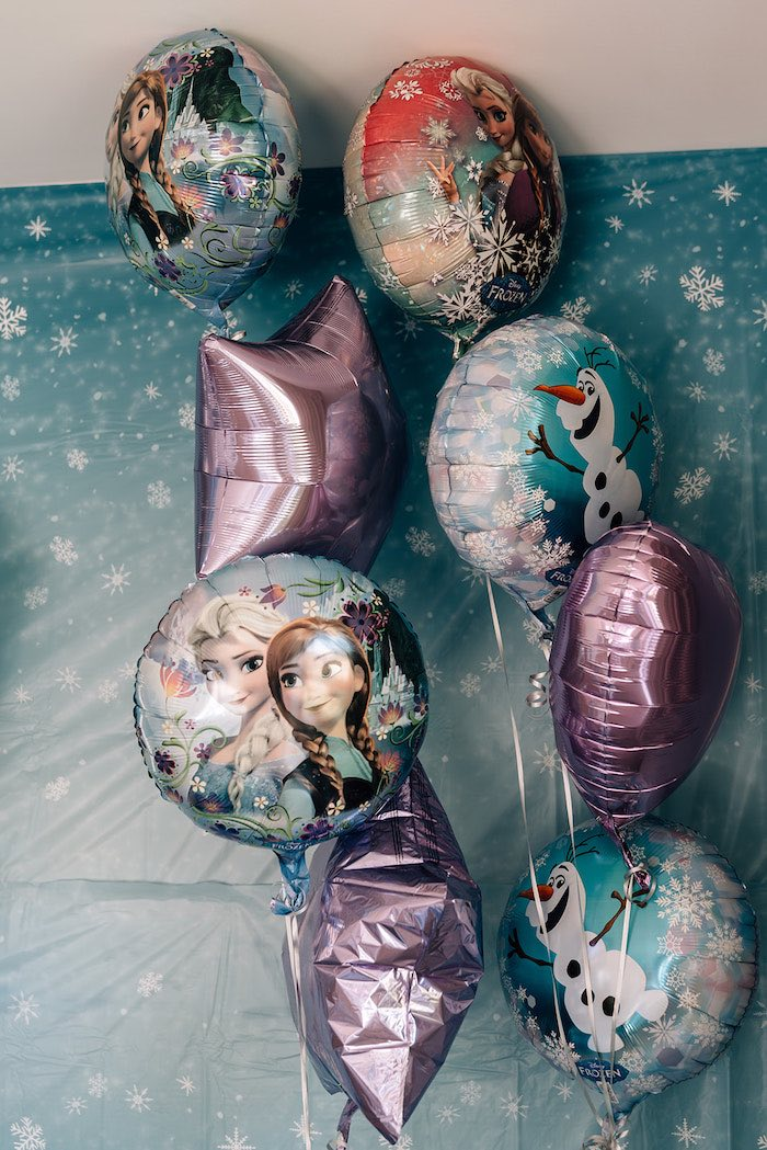 Frozen Character Mylar Balloon Bunch from a Stylish Frozen Birthday Party on Kara's Party Ideas | KarasPartyIdeas.com (6)
