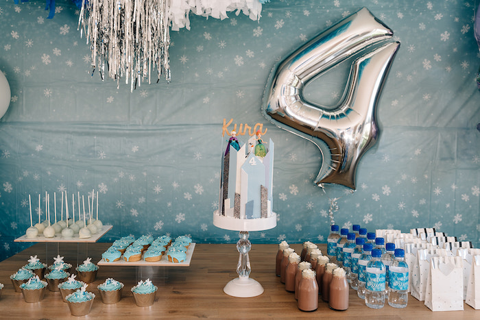 Frozen Themed Party Table from a Stylish Frozen Birthday Party on Kara's Party Ideas | KarasPartyIdeas.com (5)