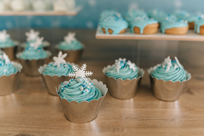 Snowflake Cupcakes from a Stylish Frozen Birthday Party on Kara's Party Ideas | KarasPartyIdeas.com (32)