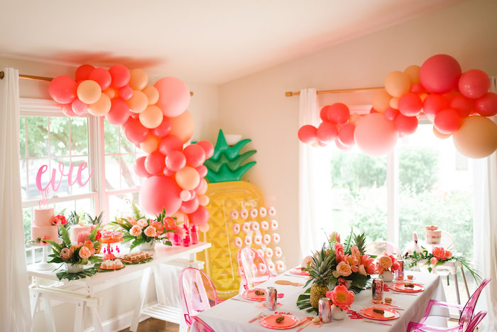 Flamingo Themed Party Tables from a Tropical Flamingo Birthday Party on Kara's Party Ideas | KarasPartyIdeas.com (15)