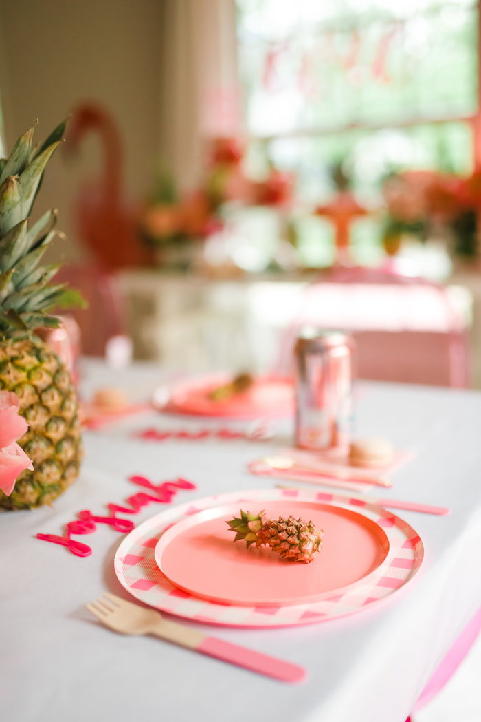Pink Flamingo-inspired Table Setting from a Tropical Flamingo Birthday Party on Kara's Party Ideas | KarasPartyIdeas.com (11)