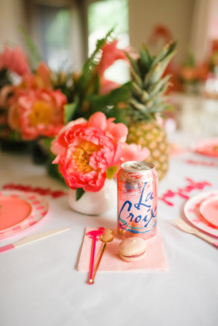 Pink Napkin + Beverage + Drink Stirrers from a Tropical Flamingo Birthday Party on Kara's Party Ideas | KarasPartyIdeas.com (10)
