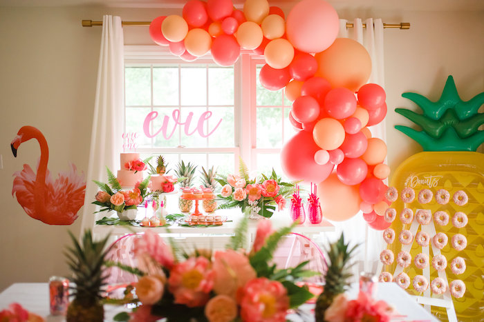 Flamingo Themed Party Table from a Tropical Flamingo Birthday Party on Kara's Party Ideas | KarasPartyIdeas.com (9)