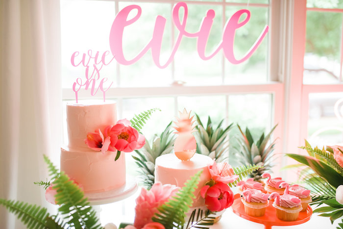 Flamingo-inspired Cakes + Cake Table from a Tropical Flamingo Birthday Party on Kara's Party Ideas | KarasPartyIdeas.com (25)