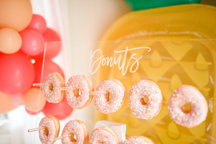 Donuts from a Tropical Flamingo Birthday Party on Kara's Party Ideas | KarasPartyIdeas.com (22)