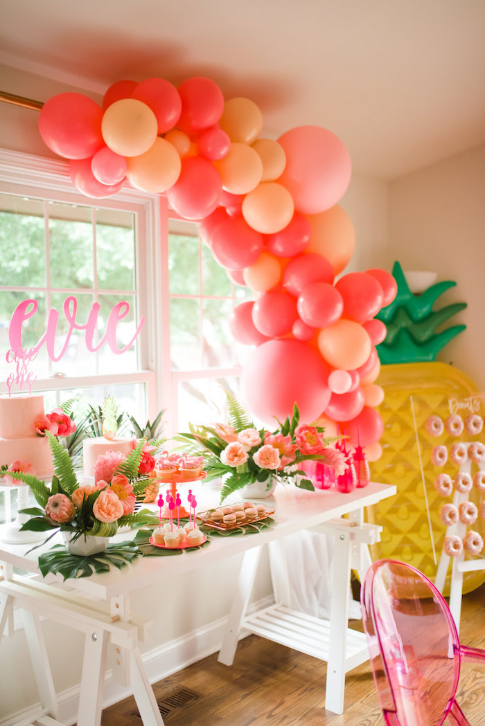 Flamingo Party Table from a Tropical Flamingo Birthday Party on Kara's Party Ideas | KarasPartyIdeas.com (20)