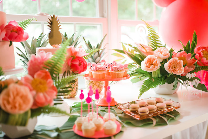 Flamingo Party Table from a Tropical Flamingo Birthday Party on Kara's Party Ideas | KarasPartyIdeas.com (18)