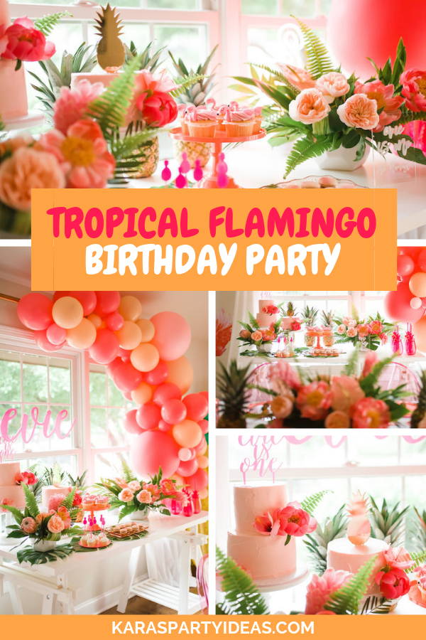 Tropical Flamingo Birthday Party via Kara's Party Ideas - KarasPartyIdeas.com