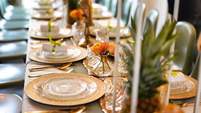 Elegant Dining Tablescape from a Tropical Garden High Tea on Kara's Party Ideas | KarasPartyIdeas.com (8)