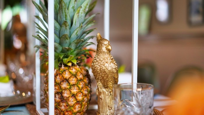 Pineapple + Gold Bird Table Centerpieces from a Tropical Garden High Tea on Kara's Party Ideas | KarasPartyIdeas.com (3)