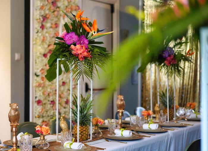 Tropical Dining Tablescape from a Tropical Garden High Tea on Kara's Party Ideas | KarasPartyIdeas.com (13)
