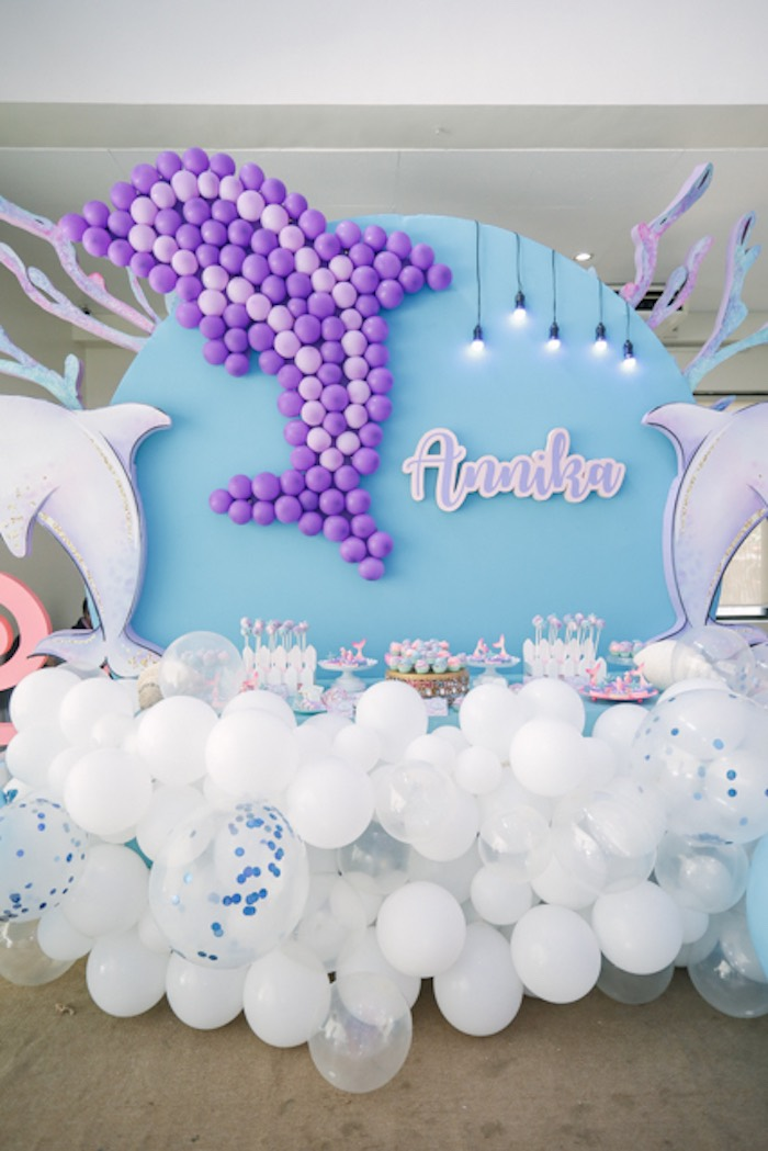 Dolphin Dessert Table from an Under the Sea Birthday Party on Kara's Party Ideas | KarasPartyIdeas.com (31)