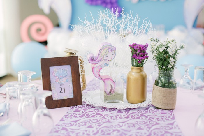Under the Sea Guest Table + Table Centerpieces from an Under the Sea Birthday Party on Kara's Party Ideas | KarasPartyIdeas.com (28)