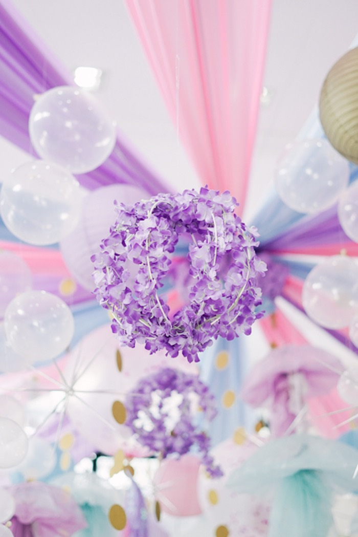 Hanging Flower Garland Ball from an Under the Sea Birthday Party on Kara's Party Ideas | KarasPartyIdeas.com (25)
