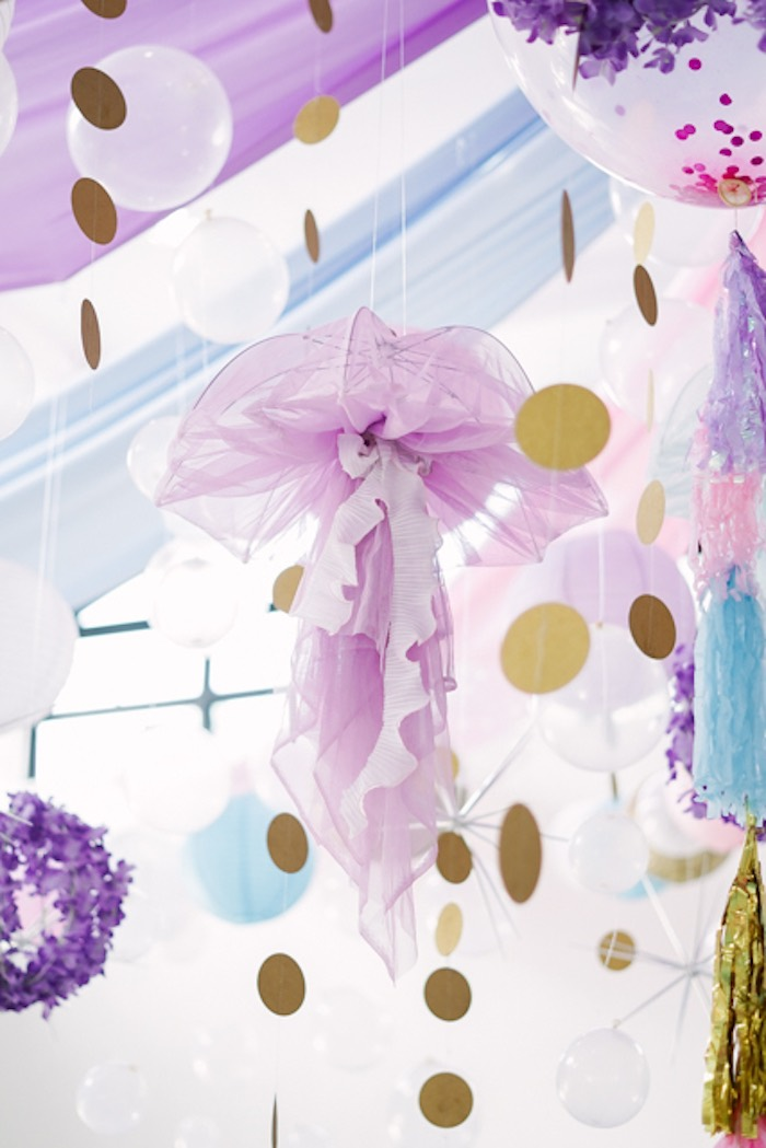 Umbrella Jelly Fish Decoration from an Under the Sea Birthday Party on Kara's Party Ideas | KarasPartyIdeas.com (24)