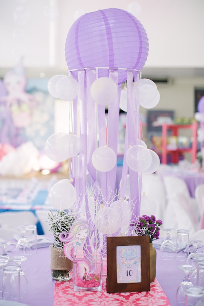 Paper Lantern Jelly Fish Table Centerpiece from an Under the Sea Birthday Party on Kara's Party Ideas | KarasPartyIdeas.com (23)