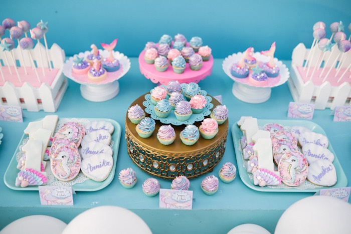Under the Sea Dessert Table from an Under the Sea Birthday Party on Kara's Party Ideas | KarasPartyIdeas.com (20)