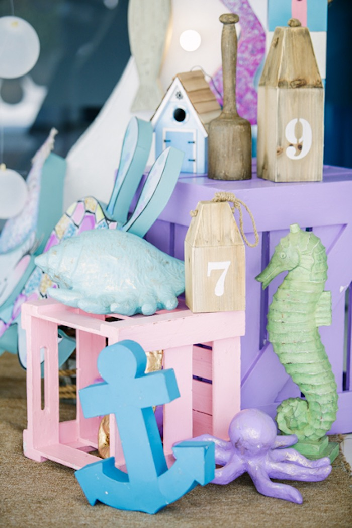 Pastel Crates stacked with Under the Sea Decor from an Under the Sea Birthday Party on Kara's Party Ideas | KarasPartyIdeas.com (15)