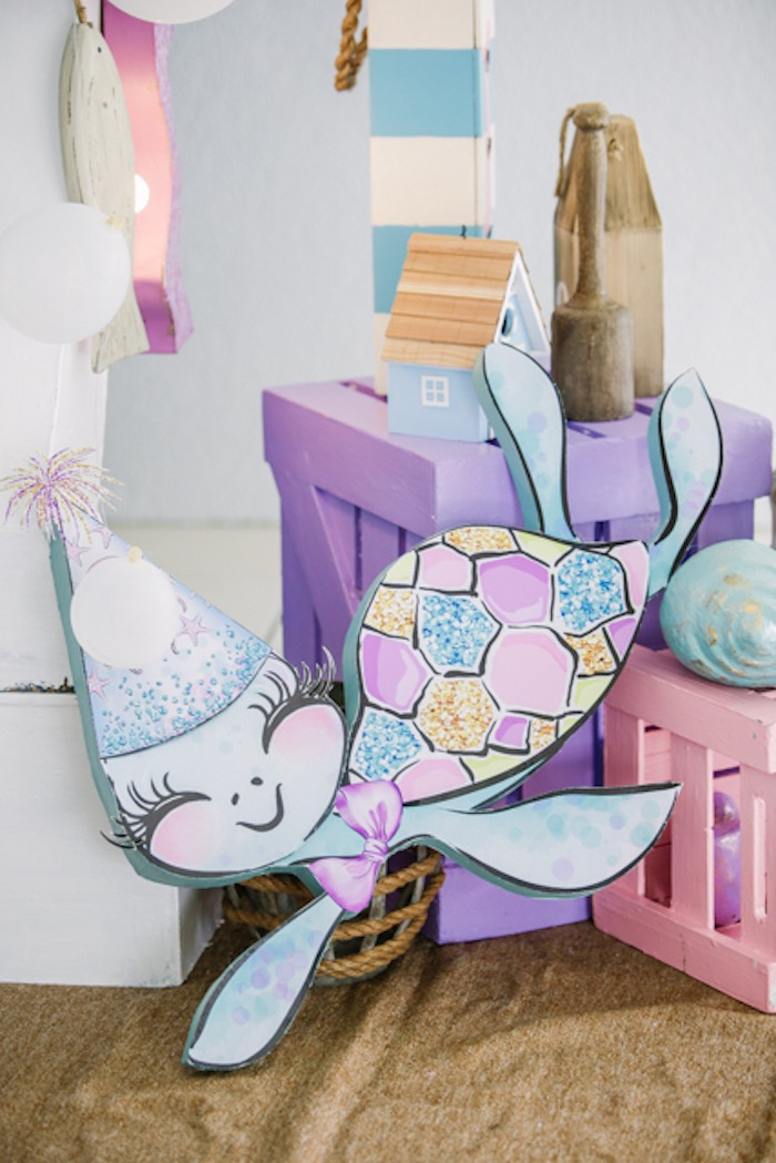 Turtle Standee + Decoration from an Under the Sea Birthday Party on Kara's Party Ideas | KarasPartyIdeas.com (14)