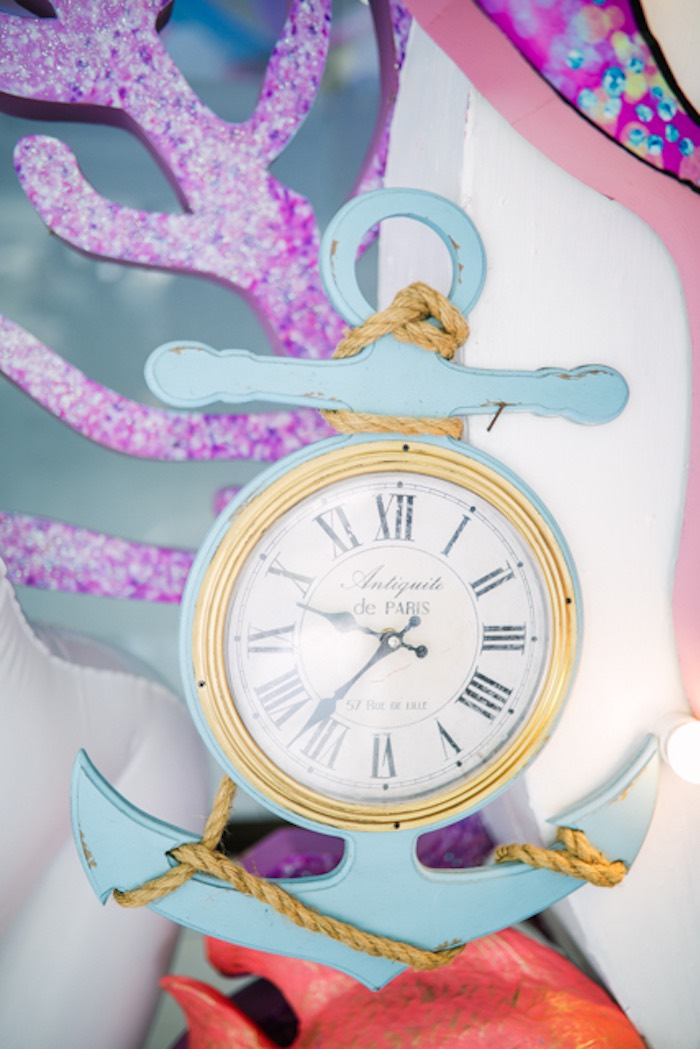 Anchor Clock from an Under the Sea Birthday Party on Kara's Party Ideas | KarasPartyIdeas.com (13)
