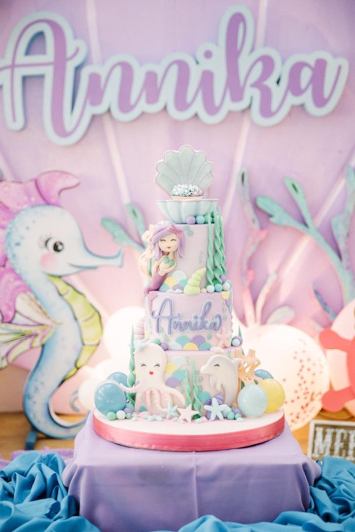 Under the Sea Themed Cake from an Under the Sea Birthday Party on Kara's Party Ideas | KarasPartyIdeas.com (12)