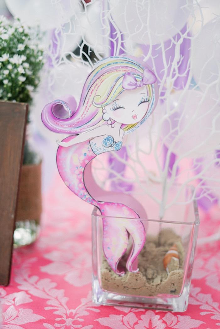 Under the Sea-inspired Mermaid Table Centerpiece from an Under the Sea Birthday Party on Kara's Party Ideas | KarasPartyIdeas.com (39)