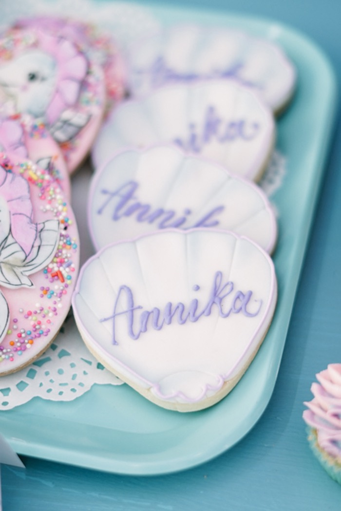 Personalized Sea Shell Sugar Cookies from an Under the Sea Birthday Party on Kara's Party Ideas | KarasPartyIdeas.com (33)