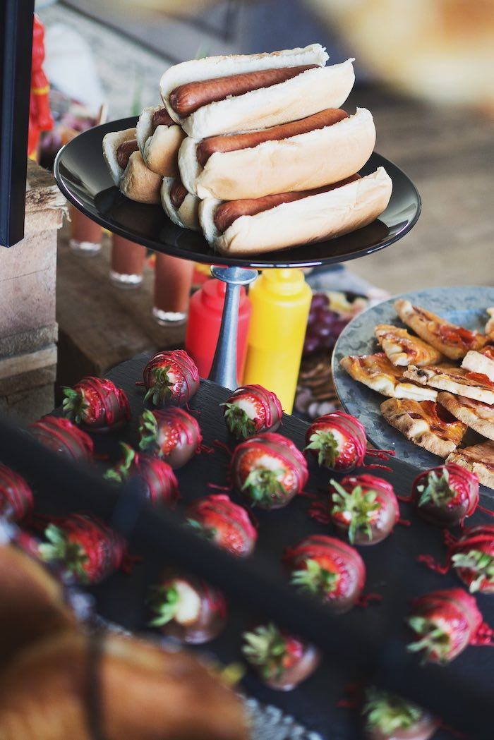Hot Dogs and Strawberries from an Urban Superhero Birthday Party on Kara's Party Ideas | KarasPartyIdeas.com (14)