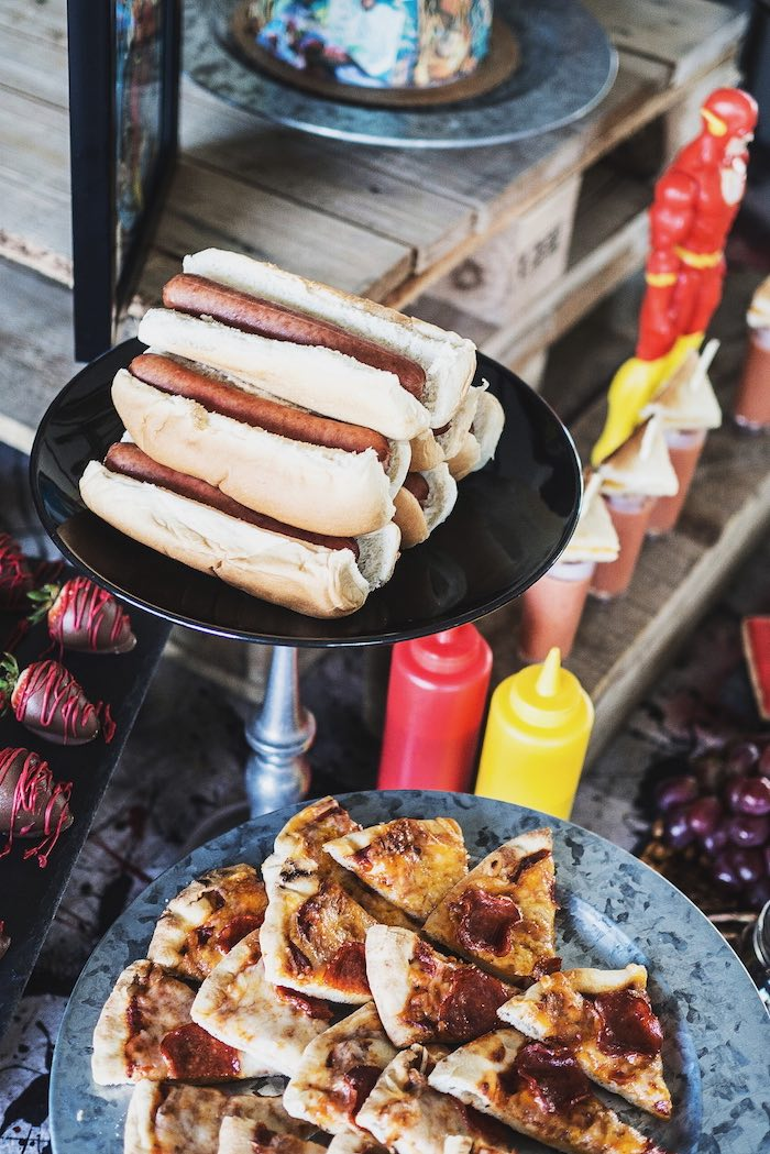 Hot Dogs on a Pedestal Stand from an Urban Superhero Birthday Party on Kara's Party Ideas | KarasPartyIdeas.com (13)