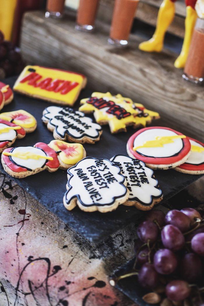 Superhero Cookies from an Urban Superhero Birthday Party on Kara's Party Ideas | KarasPartyIdeas.com (12)