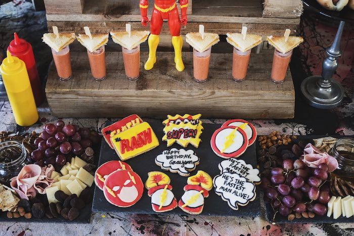 Superhero Cookies + Tomato Soup & Cheese Sandwich Shooters from an Urban Superhero Birthday Party on Kara's Party Ideas | KarasPartyIdeas.com (11)