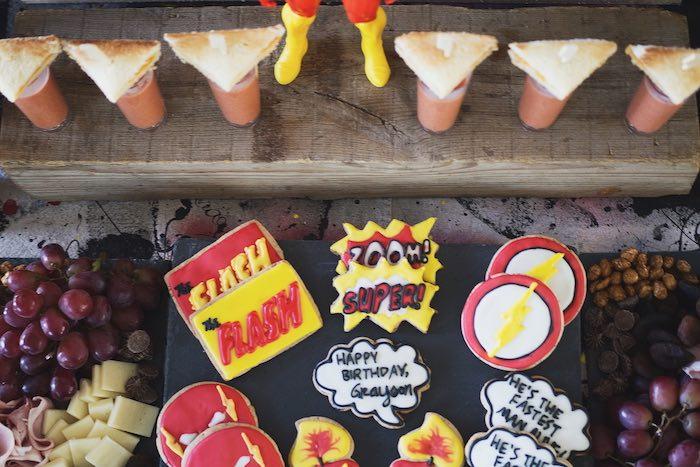 Superhero Cookies from an Urban Superhero Birthday Party on Kara's Party Ideas | KarasPartyIdeas.com (7)