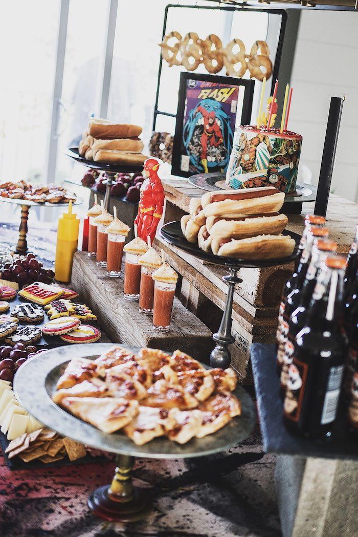 Urban Superhero Party Table from an Urban Superhero Birthday Party on Kara's Party Ideas | KarasPartyIdeas.com (22)